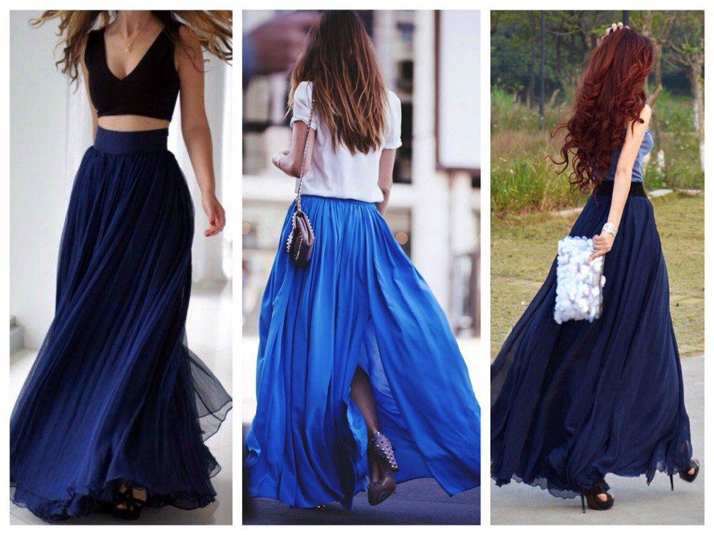 Синяя юбка как базовая деталь женского гардероба 1