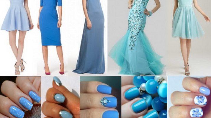 маникюр к голубому платью на свадьбу