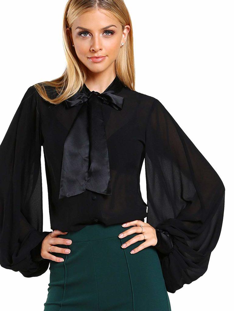 Блузка шифоновая с рукавами.
