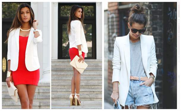 Варианты образов с белым пиджаком.