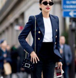 С чем носить синий жакет