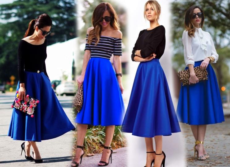 Синяя юбка как базовая деталь женского гардероба