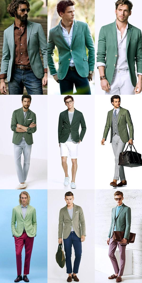 С чем носить мужчине зелёный пиджак?