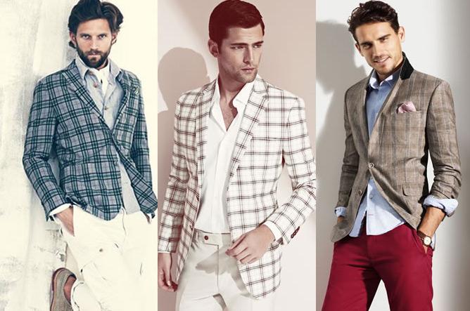 Варианты образов с клетчатым мужским пиджаком.