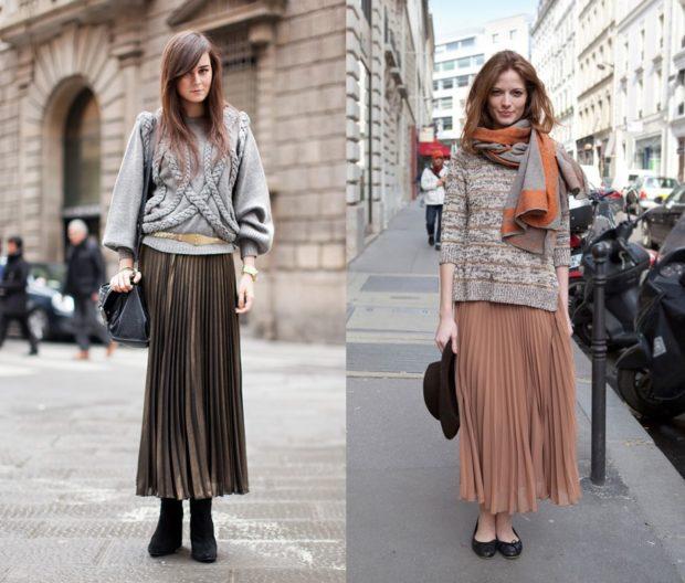 С чем носить длинную плиссированную юбку?