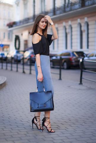 С чем носить синюю юбку светлую
