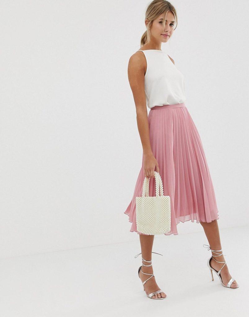 С чем носить юбку-плиссе розового цвета 3