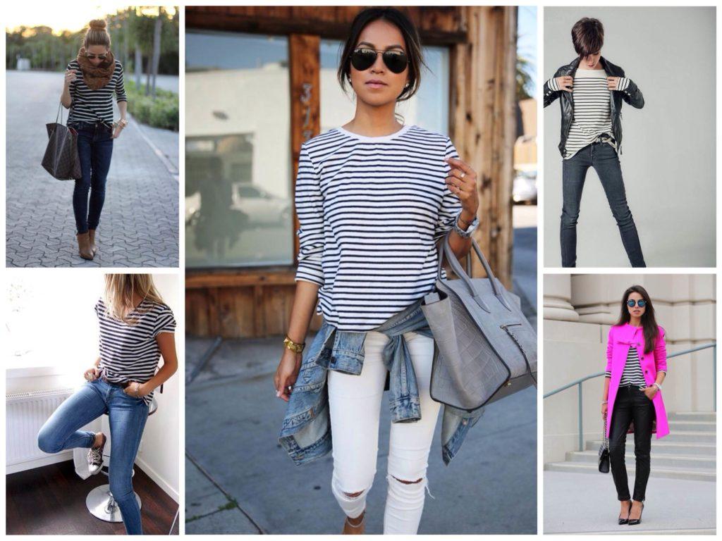 футболка в полоску с джинсами