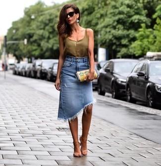 С чем носить синюю юбку летом