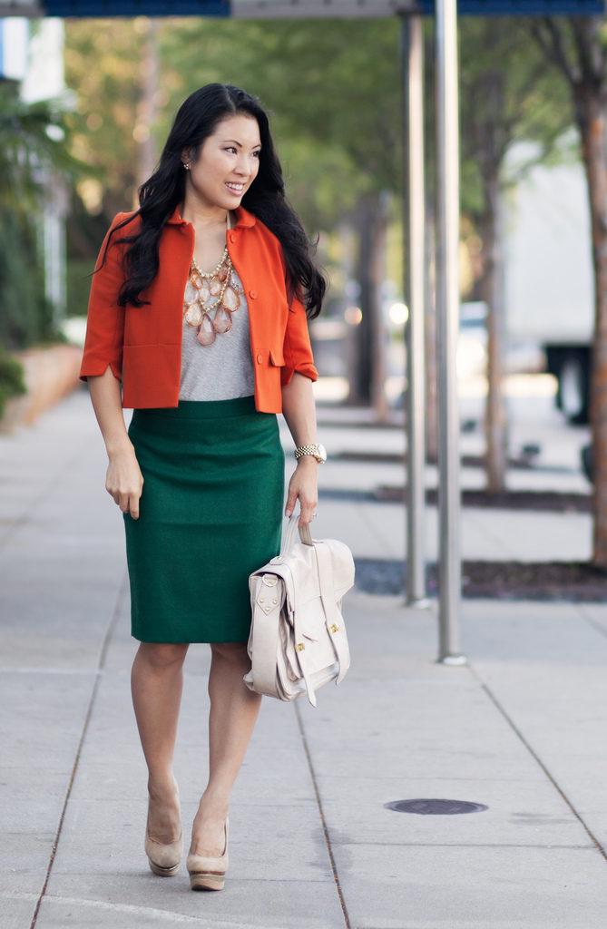 с чем носить оранжевый пиджак деловой стиль