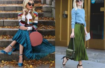 С чем носить юбку-плиссе зелёного цвета