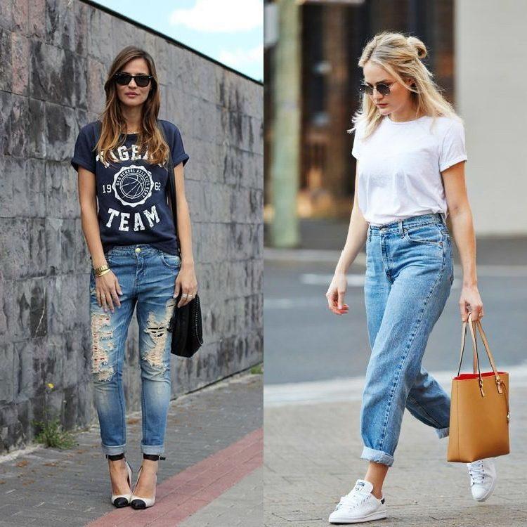 Идеи как носить футболку с джинсами