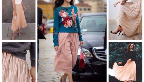 С чем носить юбки пудрового цвета