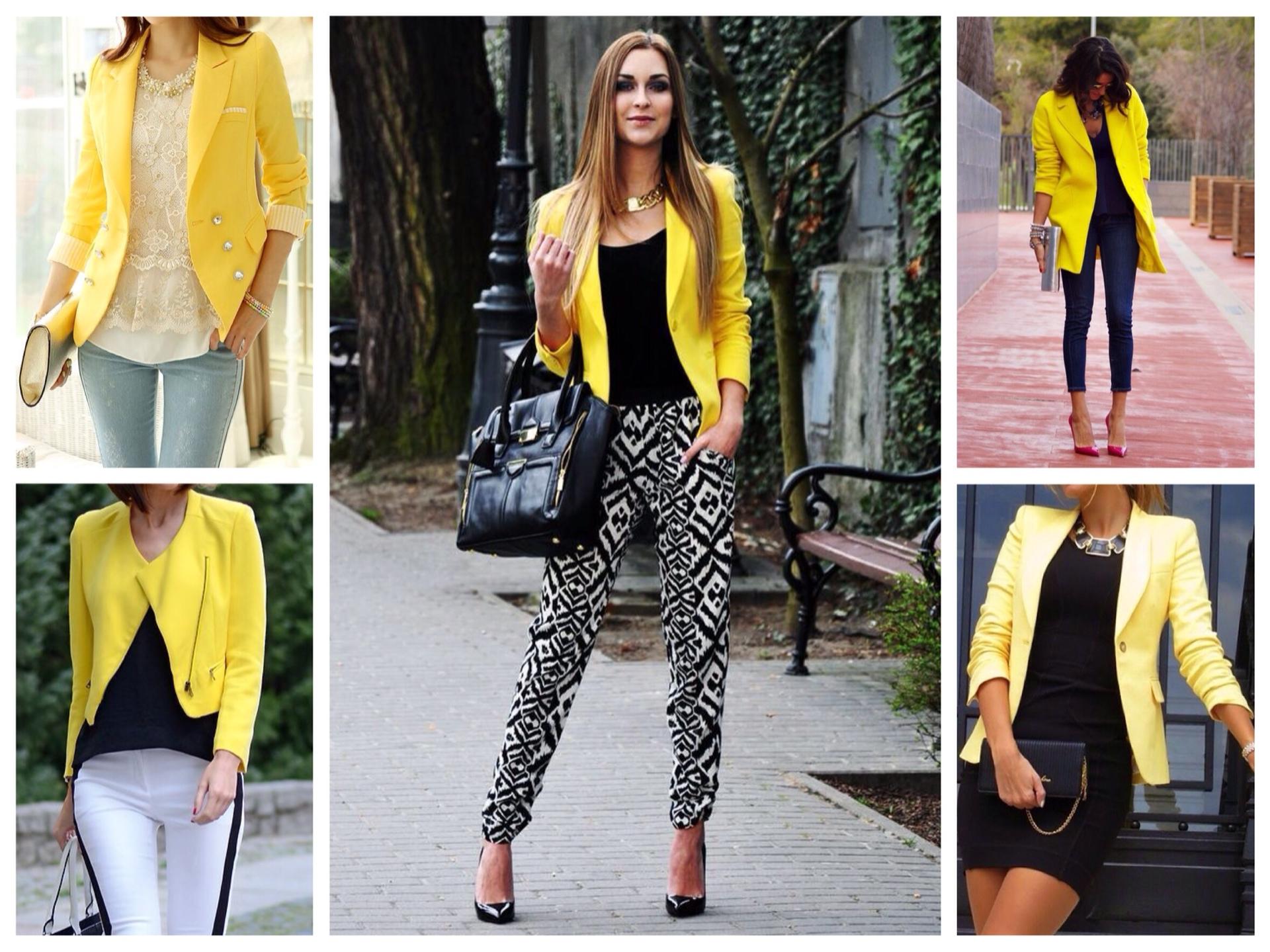С чем носить женский пиджак жёлтого цвета