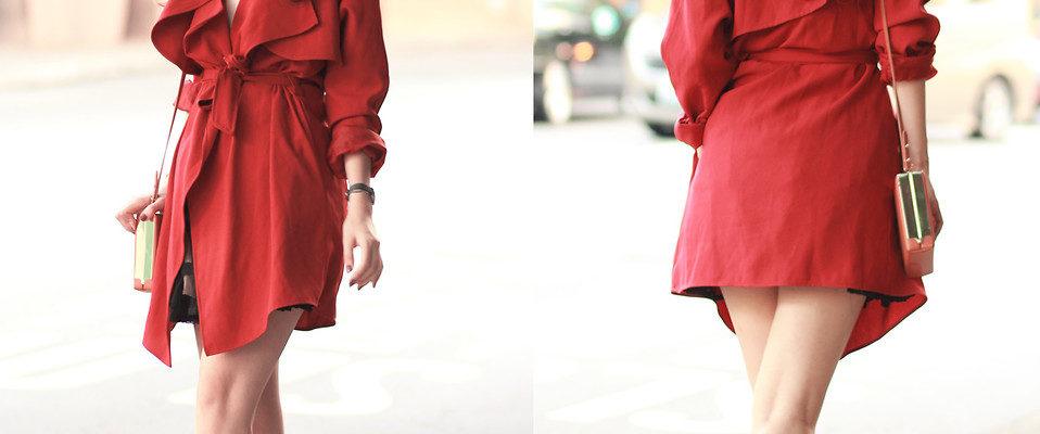 С чем носить красный тренч