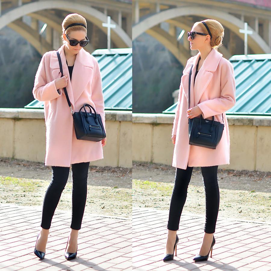 С чем можно носить пальто персикового цвета? что под низ