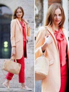 С чем можно носить пальто персикового цвета?