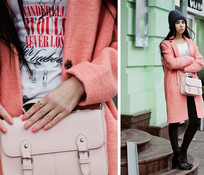 С чем можно носить пальто персикового цвета? сумка