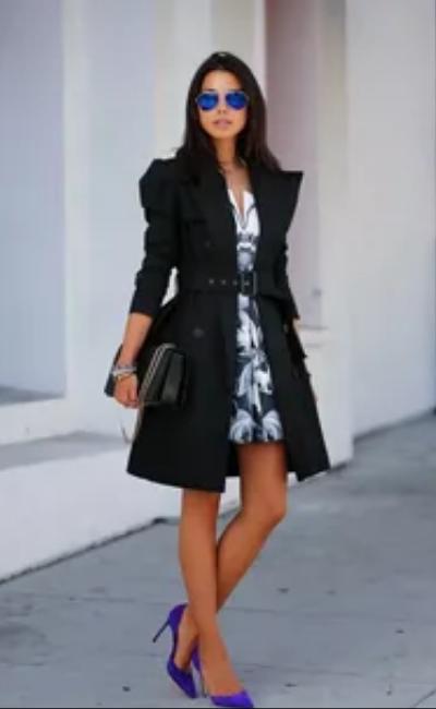 черный тренч с платьем