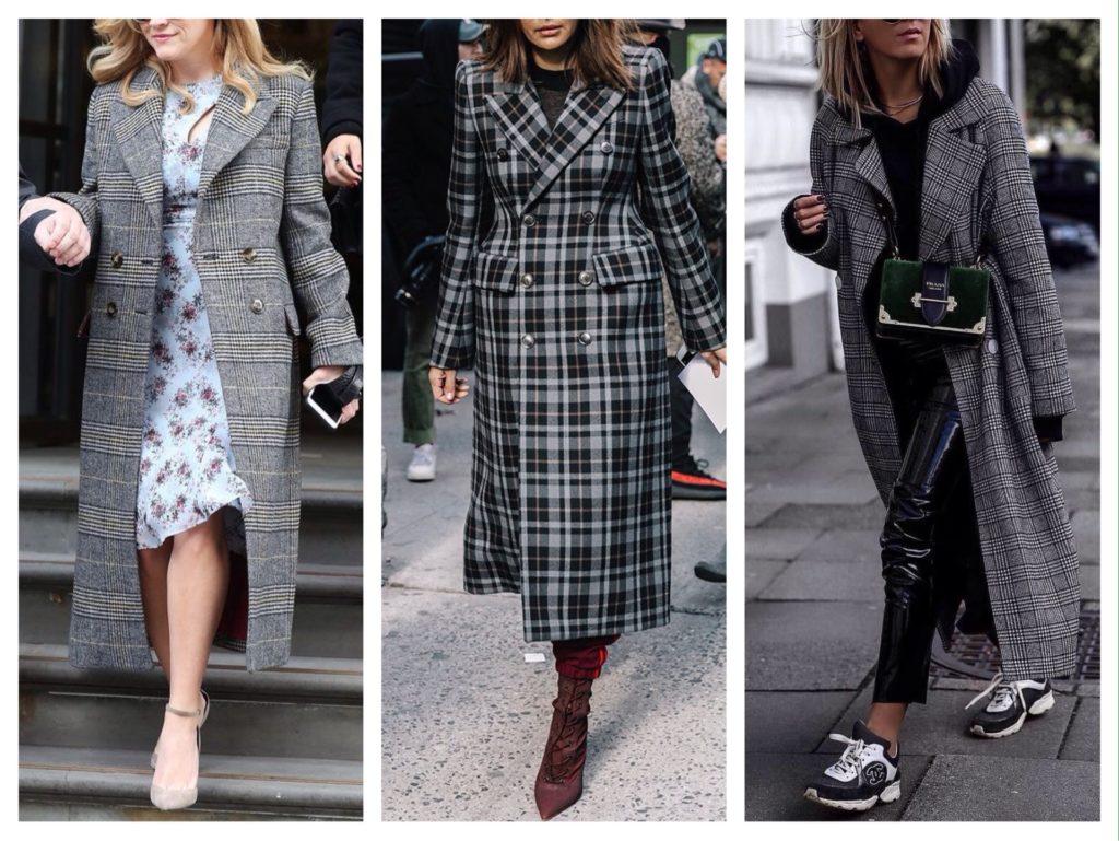 С чем носить серое пальто в клетку?