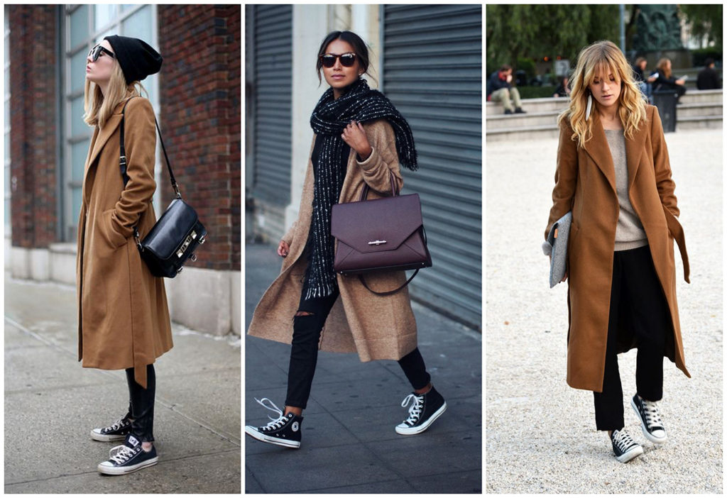 Носят ли классическое пальто с кроссовками