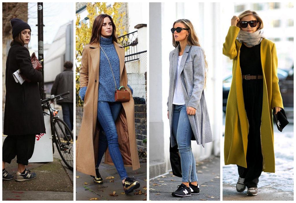 Носят ли классическое пальто с кроссовками 5