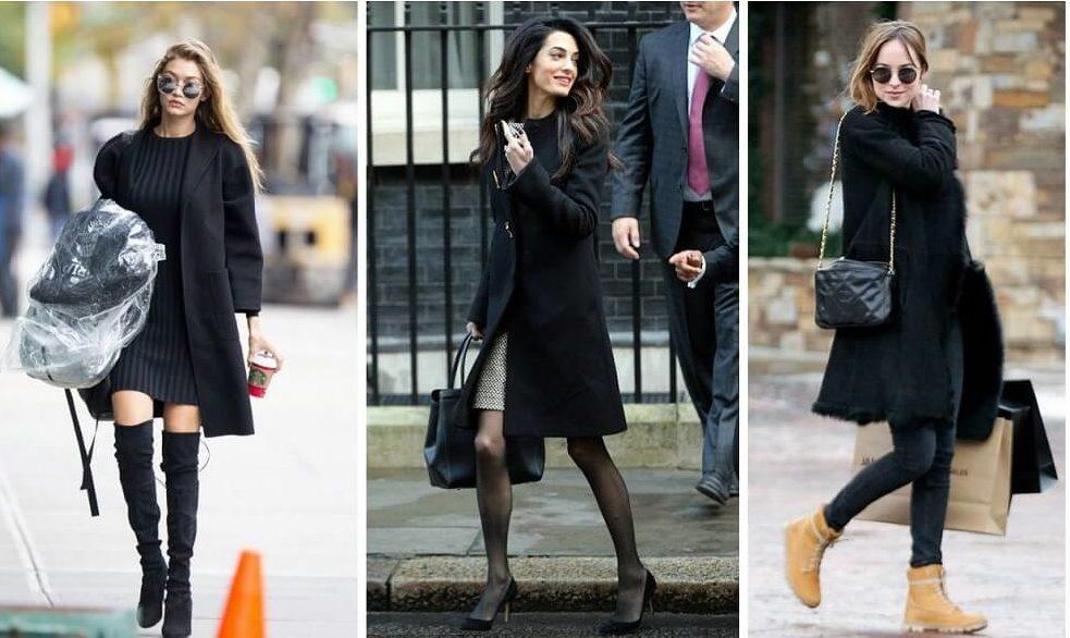 Разные модели чёрного пальто.