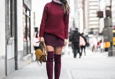Бордовые замшевые сапоги — с чем носить