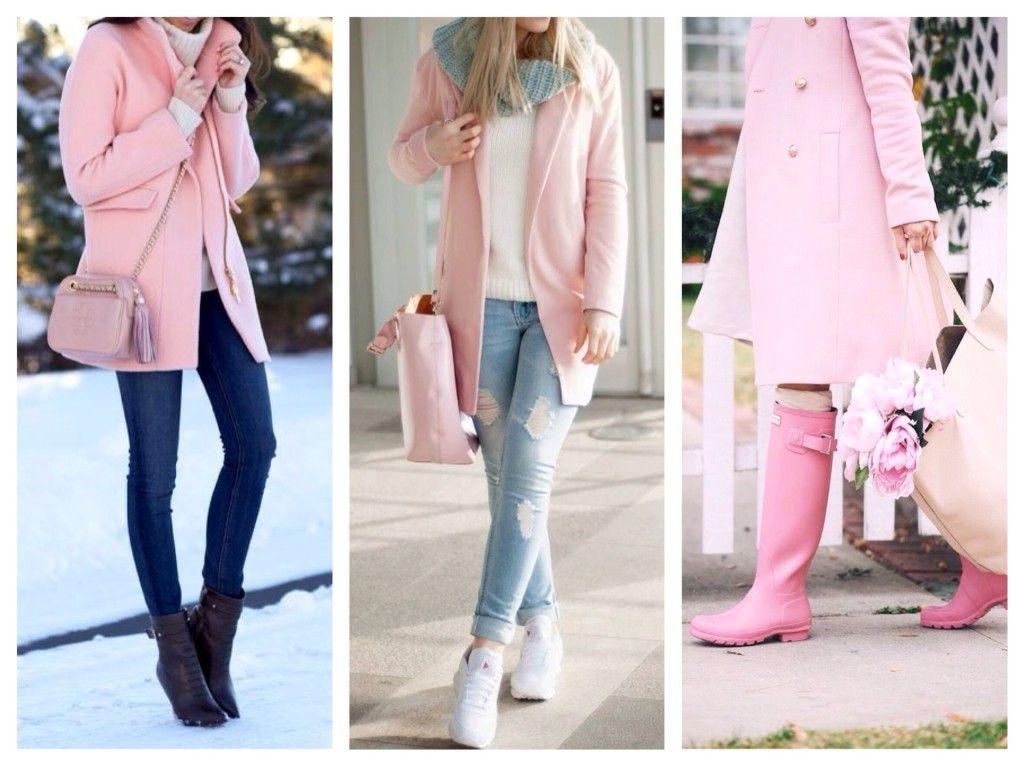Подбор обуви к розовому пальто.