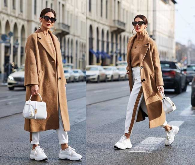 Носят ли классическое пальто с кроссовками 2