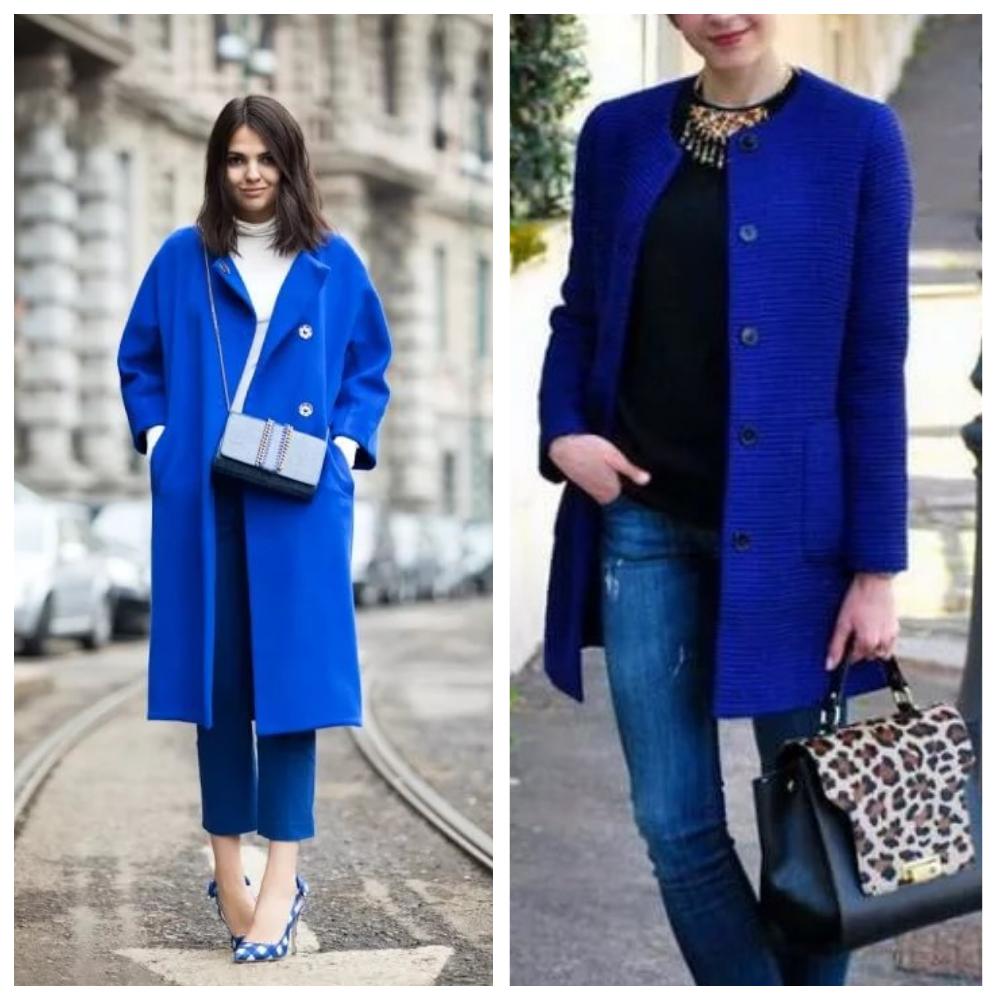 С чем носить женское пальто синего цвета 1
