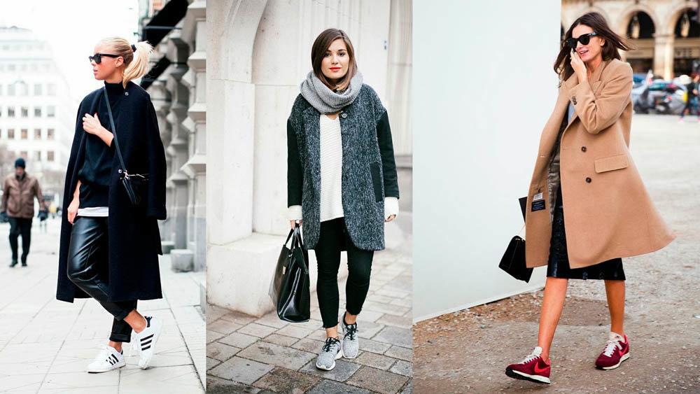 Носят ли классическое пальто с кроссовками 1