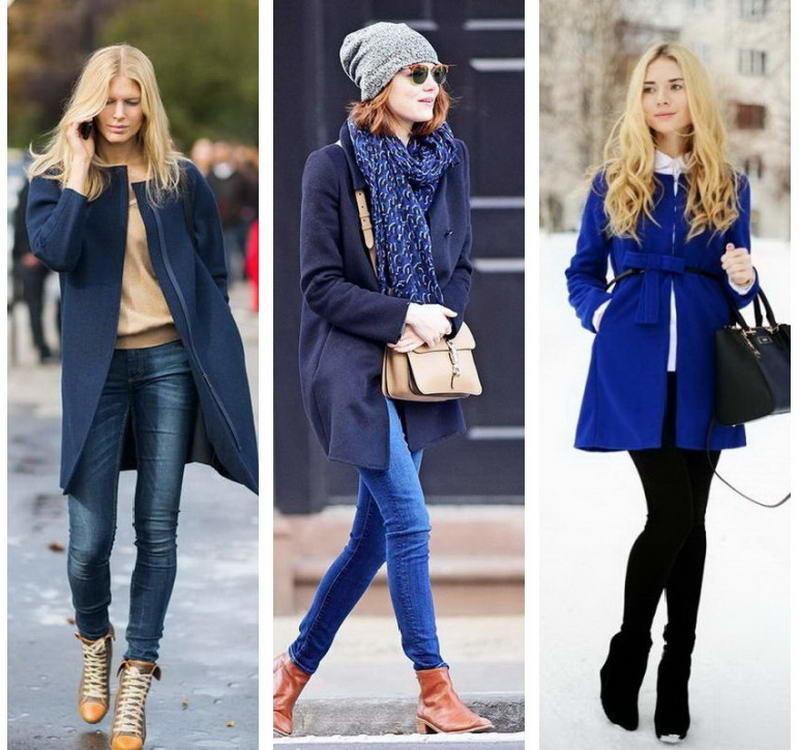 С чем носить женское короткое пальто синего цвета