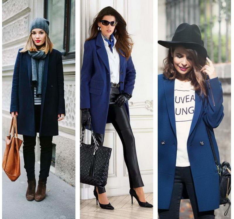 С чем носить женское пальто синего цветапрямого кроя