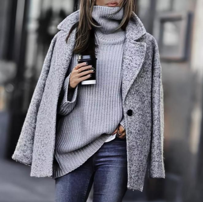 С чем носить серое женское пальто, 26 фото образов