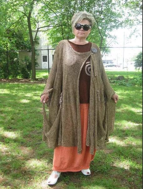 вязаное женское пальто бохо для полных