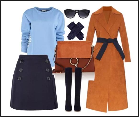 терракотовое пальто и голубой свитер темная юбка