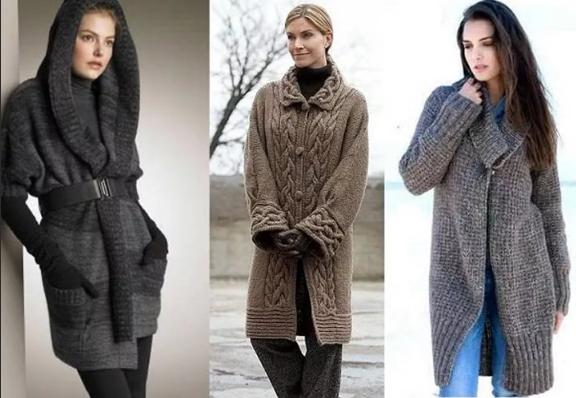 вязаное женское пальто до колена