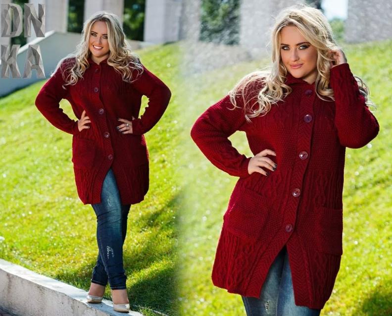 вязаное женское пальто бордо для полных