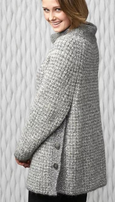 вязаное женское пальто рукав реглан