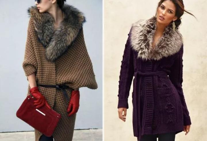 вязаное женское пальто с мехом