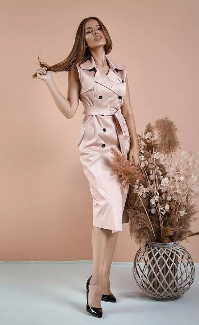 платье тренчкот розовый