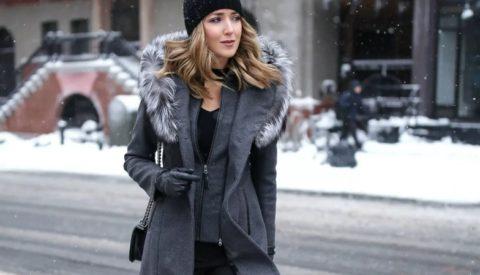 шапка к пальто с мехом