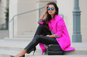 C чем носить пальто цвета фуксии?