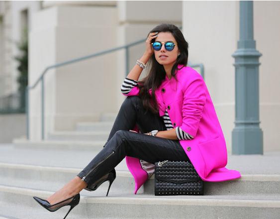 Пальто фуксия, с чем носить?
