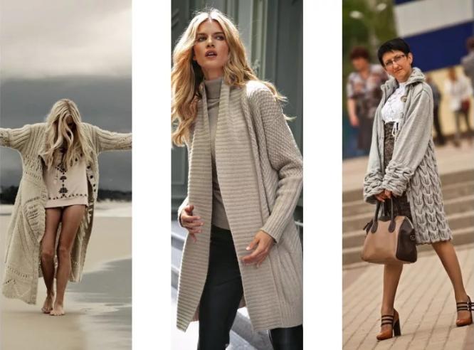 вязаное женское пальто бежевое