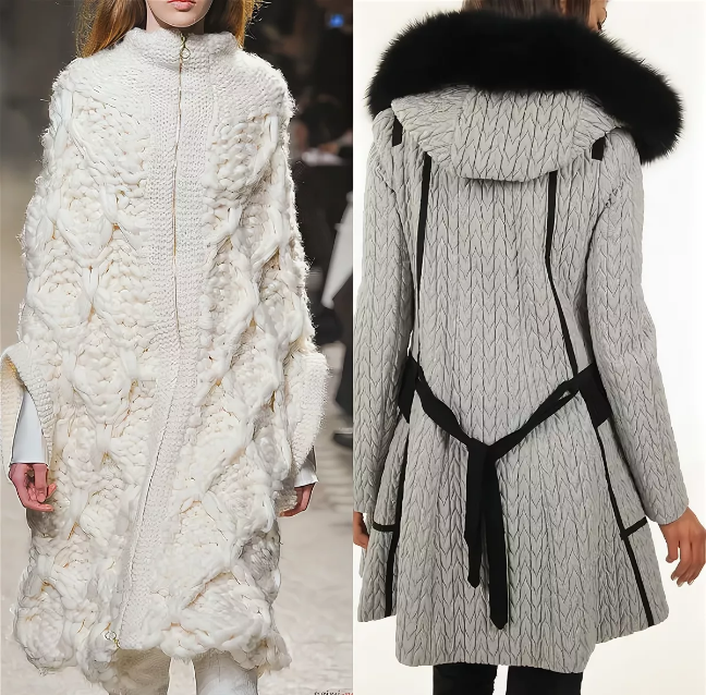 вязаное женское пальто длинное из толстой пряжи