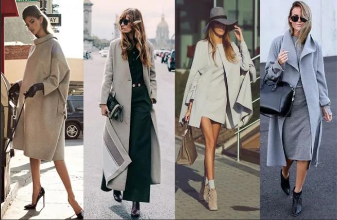 серое пальто с чем носить