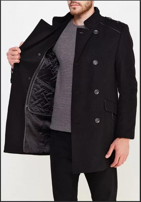 черное мужское пальто теплое