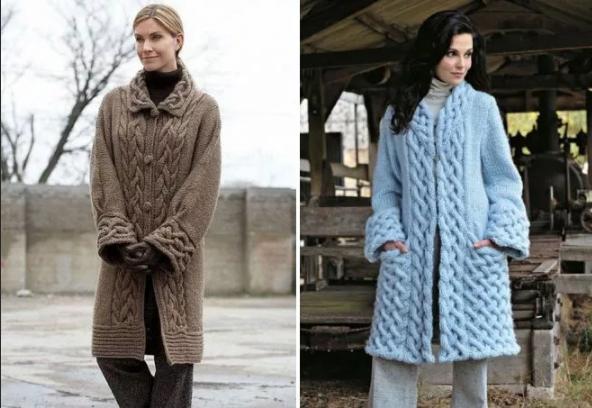 вязаное женское пальто из толстой пряжи